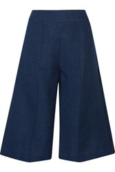 Adam By Adam Lippes Linen And Wool Blend Chambray Shorts Storm Blue