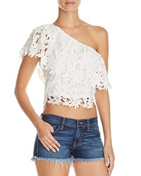 Lush Lace One Shoulder Crop Top Ivory