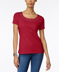 Karen Scott Embellished T Shirt Only At Macy's New Red Amore
