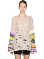Natasha Zinko Open Back Striped Wool Blend Sweater Beige