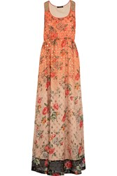 Vineet Bahl Embellished Georgette Maxi Dress Orange