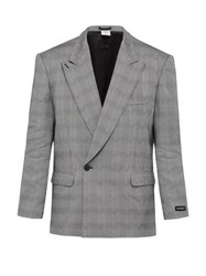 Vetements Houndstooth Double Breasted Blazer Grey