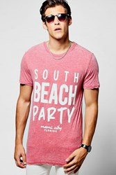 Longline South Beach Burnout T Shirt