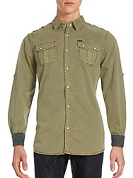 Buffalo David Bitton Steward Long Sleeve Shirt Army Green