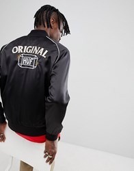 Huf Cabbie Satin Jacket With Back Embroidery In Black