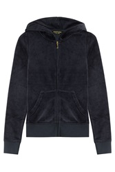 Juicy Couture Embellished Velour Hoodie Blue