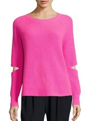 Zoe Jordan Turing Cutout Wool And Cashmere Sweater Neon Hot Pink