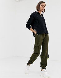 6a7218efefd8 Na Kd Cargo Trousers With Side Pocket Detail In Khaki Green