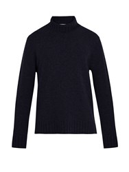 Inis Meain Loose Roll Neck Wool Sweater Navy