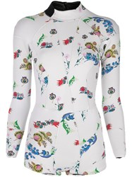 Cynthia Rowley Floral Print Wetsuit White