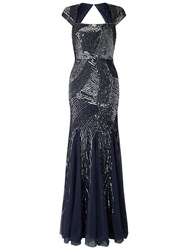 Adrianna Papell Cap Sleeve Fully Beaded Gown Navy