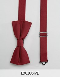 Noose And Monkey Poly Bow Tie Burgundy Red