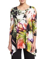 Caroline Rose Cold Shoulder Alfresco Print Tunic Top Petite Women's Multi Black