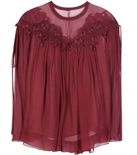 Chloe Lace Trimmed Silk Top Red