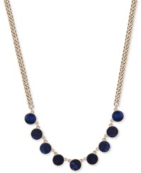 Dkny Gold Tone Colored Stone Collar Necklace Created For Macy's Blue