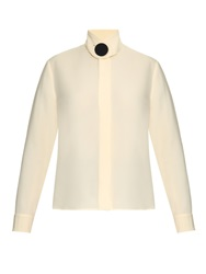 Balenciaga Button Front Silk Cady Blouse