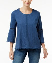 Styleandco. Style Co. Crochet Trim Bell Sleeve Top Only At Macy's New Uniform Blue