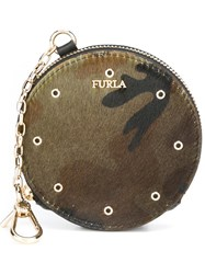 Furla 'Babylon' Coin Purse Keyring Green