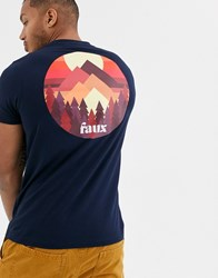 Friend Or Faux Beyond Back Print Graphic T Shirt Navy