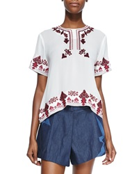 Elle Sasson Rey Embroidered Arched Silk Top