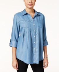 Styleandco. Style Co. Petite Striped Denim Tab Sleeve Shirt Only At Macy's Forever Stripe