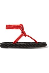 Isabel Marant Lesley Two Tone Leather Trimmed Braided Cord Sandals Red