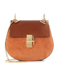 Chloe Drew Leather And Suede Shoulder Bag Brown
