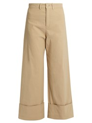 Sea Mid Rise Wide Leg Cropped Trousers Khaki