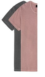 Rolla's 2 Pack Old Mate Washed Tee In Mauve Charcoal. Charcoal And Super Faded Red