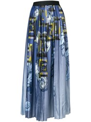 Versace Collection Pleated Maxi Skirt Blue