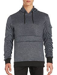 American Stitch Mid Pouch Hoodie Heather Navy
