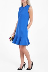 Victoria Beckham Women S Flounce Trim Short Dress Boutique1 Blue