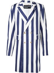 Enfants Riches Deprimes Striped Long Double Breasted Coat Blue