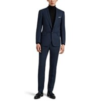 Cifonelli Striped Worsted Virgin Wool Two Button Suit Navy