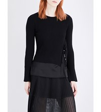 Izzue Tie Side Ribbed Knit Layered Top Black