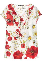 Dolce And Gabbana Ruffled Printed Silk Twill Top