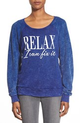 Women's Signorelli 'Relax I Can Fix It' Screenprint Thermal Top Relax I Can Fix It Denim