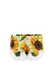 Dolce And Gabbana Sunflower Print Lace Trimmed Silk Shorts Yellow Print