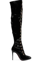 Christian Louboutin Frenchissima Alta 100 Patent Leather Over The Knee Boots Black