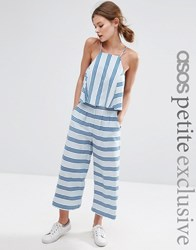Asos Petite Co Ord Linen Stripe Wide Leg Trouser Multi
