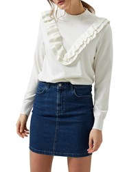 Selected Femme Addi Ruffle Front Jumper Snow White