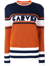 Carven Panelled Jumper Yellow And Orange