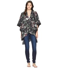 Steve Madden Floral Ruana With Side Border Black Clothing
