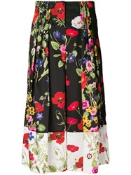 Blugirl Cropped Floral Palazzo Pants Black