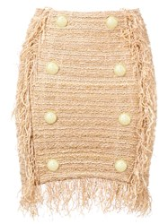 Balmain Fringed Tweed Mini Skirt Gold