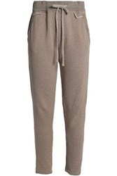 James Perse French Cotton Blend Terry Track Pants Mushroom