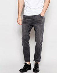 Asos Stretch Tapered Jeans In Mid Grey Grey