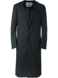 Casely Hayford Cut Out Lapel Round Neck Fitted Single Breasted Coat Black