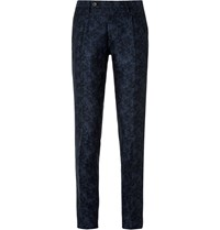 Incotex Navy Slim Fit Floral Linen And Cotton Blend Suit Trousers Blue