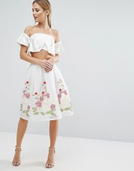 Endless Rose Midi Skirt With Embroidered Hem Off White